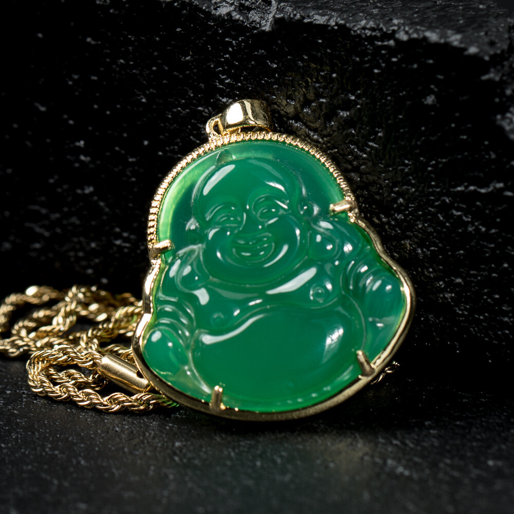 Solid 14K Gold Green Jade Buddha Pendant Necklace