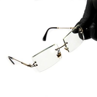 Mens Rectangle Gold Clear Tint Glasses