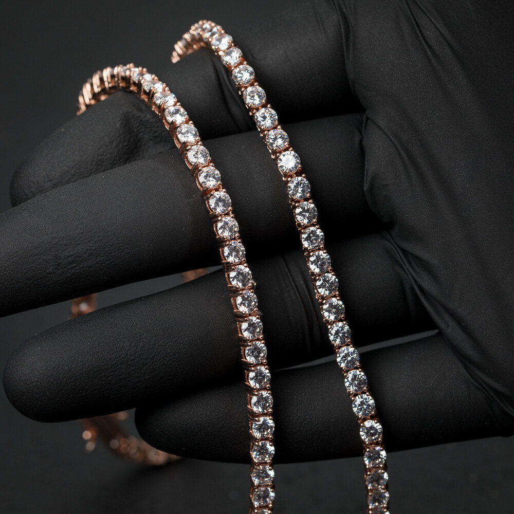 Rose Gold 925 Sterling Silver 4MM Cz Tennis Chain
