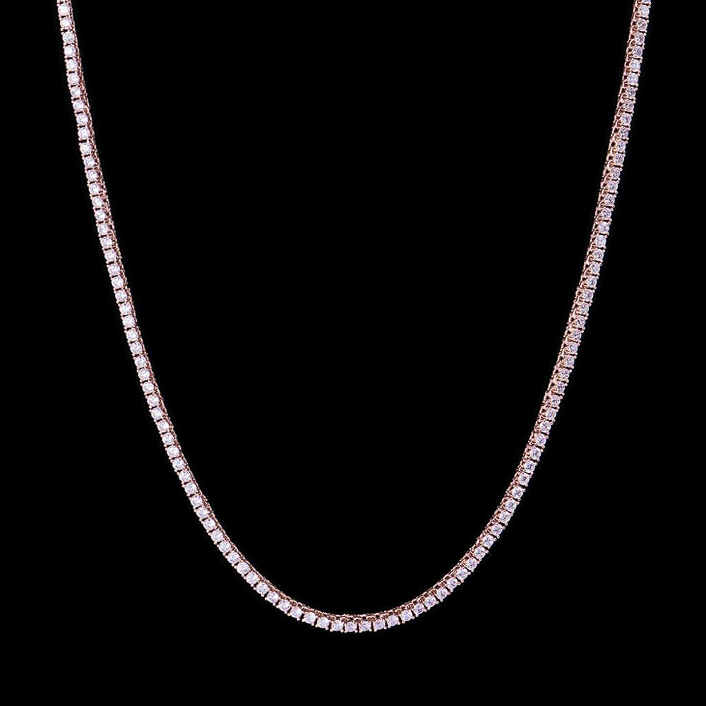 Micro Rose Gold Sterling Silver Tennis Chain Necklace