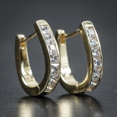 Gold Vermeil Iced One Row 5A Cz Hoop Earrings