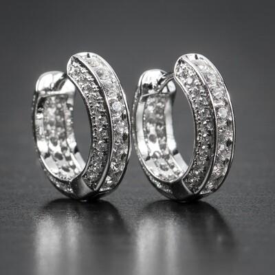 Fully Iced Small Sterling Silver Huggie Hoop Earrings