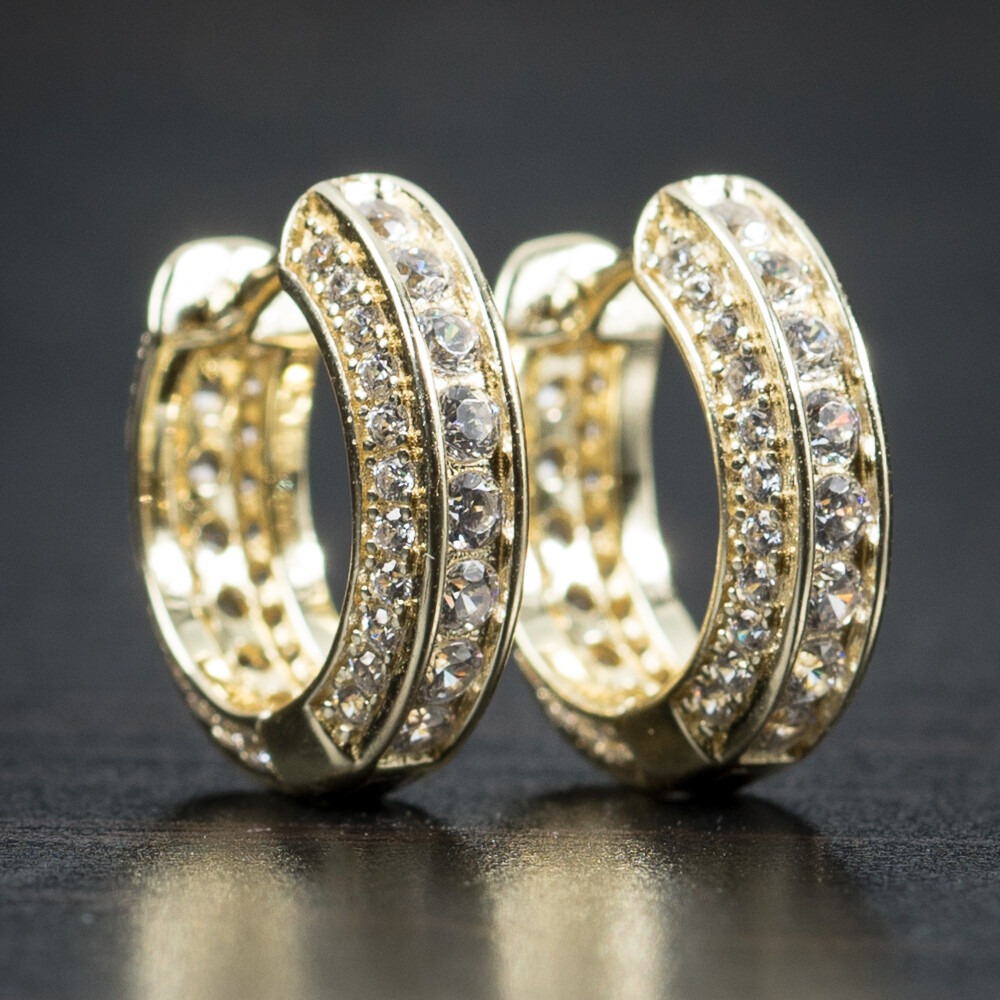 Fully Iced Small Gold Sterling Silver Hoop Earrings