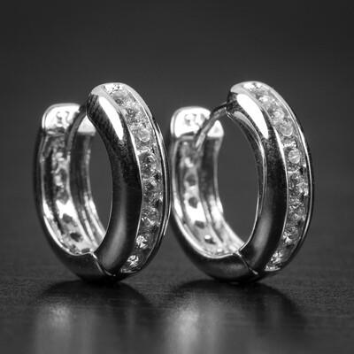 Mens Small Sterling Silver One Row Iced Hoop Earrings
