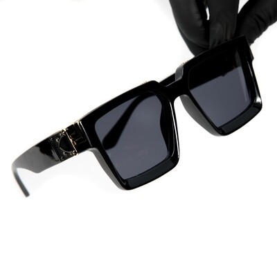 Dark Black Gold Trim Rectangle Hendrix Mens Sunglasses