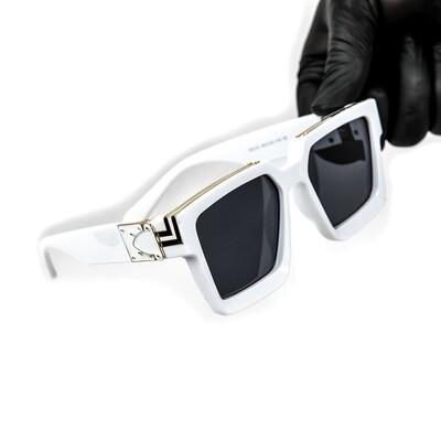 Mens White Large Frame Gold Trim Hendrix Sunglasses