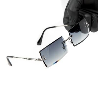 Mens Rectangle Gray Gradient Tint Silver Sunglasses