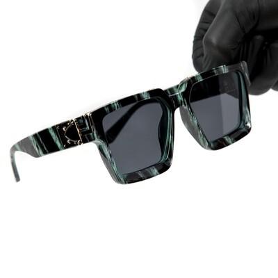 Green Gold Trim Square Hendrix Mens Sunglasses