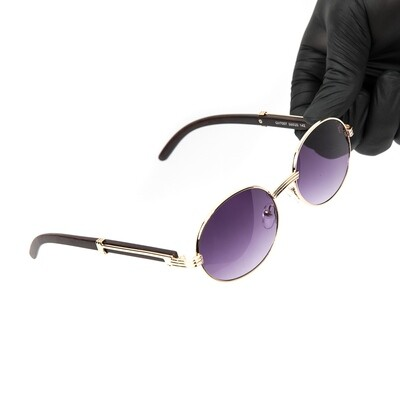 Men's Gold Round Purple Tint Wood Sunglasses