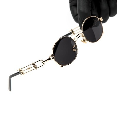 Round Gold Frame Dark Black Tint Wood Sunglasses