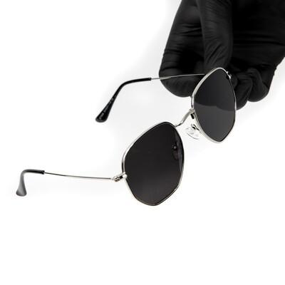 Silver Frame Dark Black Tint Summer Sunglasses