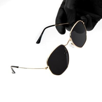 Gold Frame Dark Black Tint Summer Sunglasses