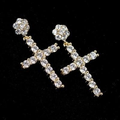 Mens Gold Flower Cluster Stud Cross Earrings