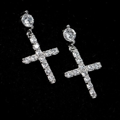 Mens Round Stud Sterling Silver Hanging Cross Earrings