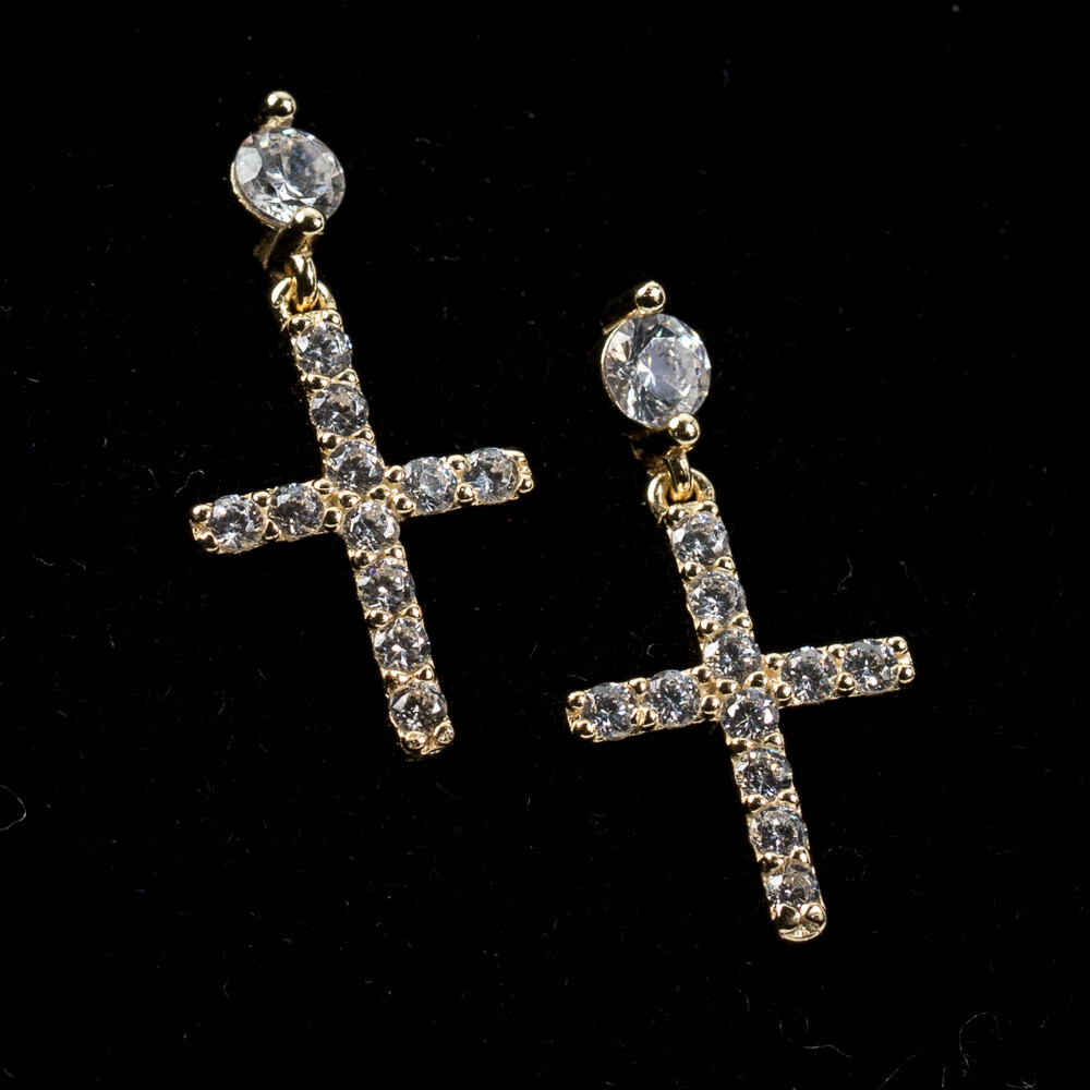 Mens Gold Round Stud Dangle Cross Earrings