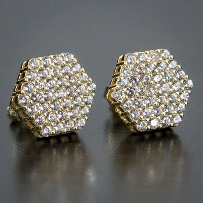 Men's Gold Honey Comb Set Octagon Cluster Earrings
