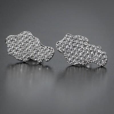 Iced Sterling Silver Zig Zag Set Cz Nugget  Earrings