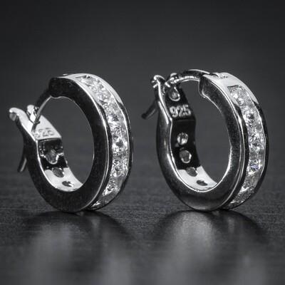Mens Small One Row Cz Sterling Silver Hoop Earrings