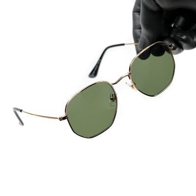 Vintage Gold Frame Green Tint Summer Sunglasses