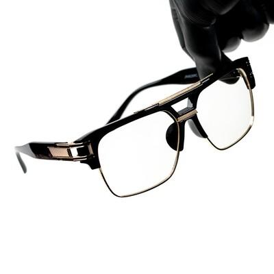 Men's Gold Frame Clear Lens Black Glasses