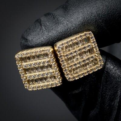 Mens Gold Square Baguette Stud Screw Back Earrings