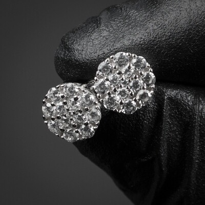 Mens Round Mini Sterling Silver Cz Cluster Earrings