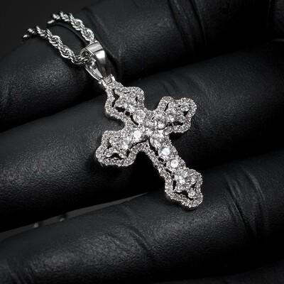 Mini Silver Cross Pendant & Rope Chain Necklace
