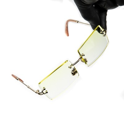 Mens Gold Rimless Canary Yellow Tint Sunglasses