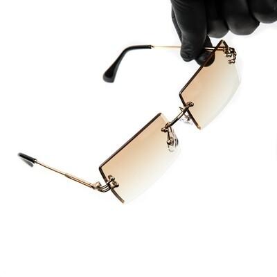 Mens Mocha Brown Tint Rimless Summer Sunglasses