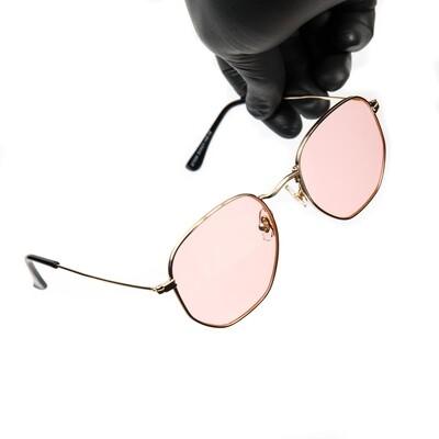 Gold Frame Pink Tint Summer Sunglasses