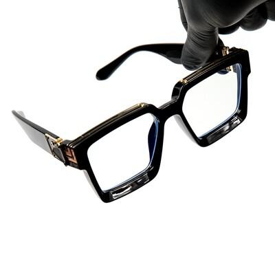 Men's Black Gold Frame Hendrix Clear Lens Glasses