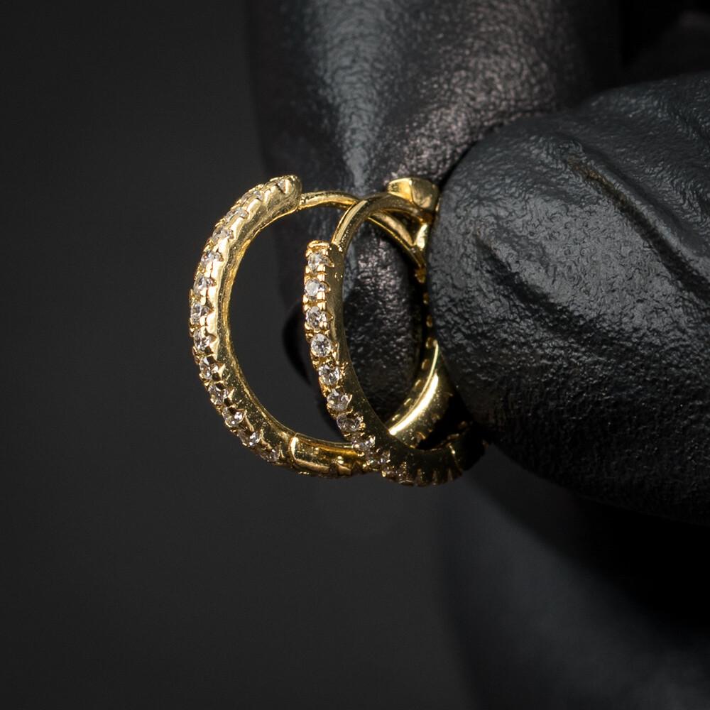 Men's Small Thin Gold Iced Huggie Hoop Earrings