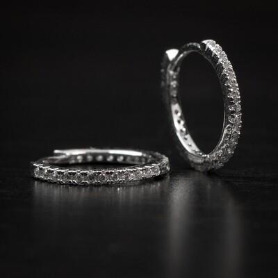 Men's Thin Sterling Silver Iced Huggie Hoop Earrings