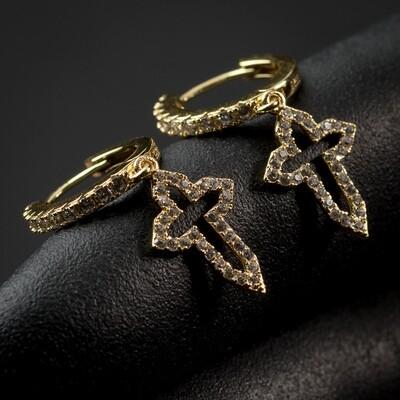 Men 14K Gold Sterling Silver Dangle Cross Hoop Earrings