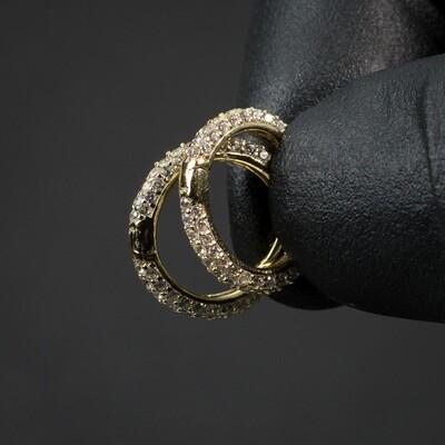 Men's Fully Iced Thin Gold Iced Huggie Hoop Earrings
