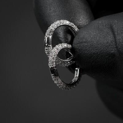 Men's Fully Iced Thin Sterling Silver Hoop Earrings