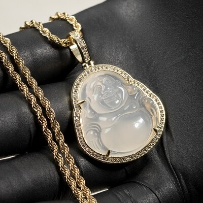 14K Gold Iced Cz Clear Jade Buddha Pendant Necklace