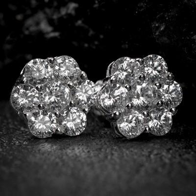 Iced Flower Cluster Sterling Silver Mens Stud Earrings