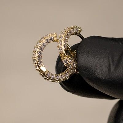 Men's Fully Iced Gold Men's Hoop Earrings