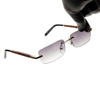 Mens Wood Gold Purple Smoke Gradient Tint Sunglasses