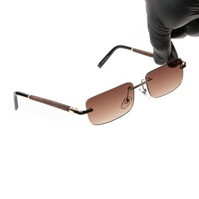 Mens Gold Brown Tint Retro Hip Hop Sunglasses