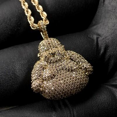14K Gold Honey Comb Set Buddha Pendant Necklace