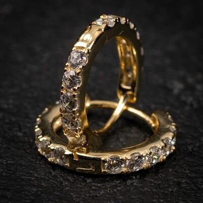 Men's Gold One Row Iced Huggie Hoop Earrings
