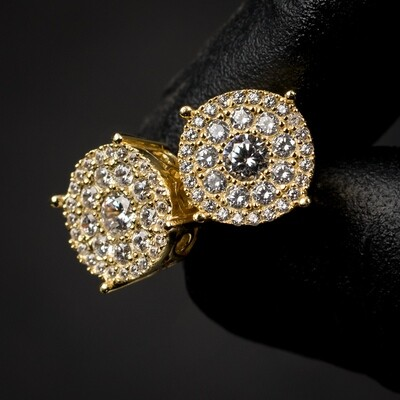 14K Gold Iced Round Cluster Stud Earrings