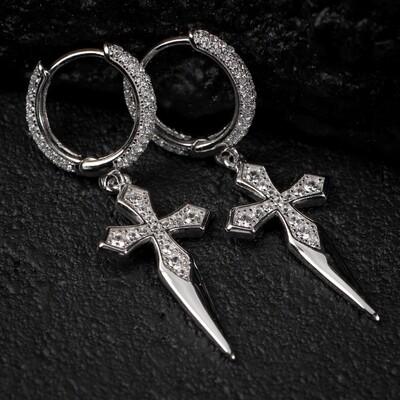 Men's Sterling Silver Dagger Dangle Cross Hoop Earrings