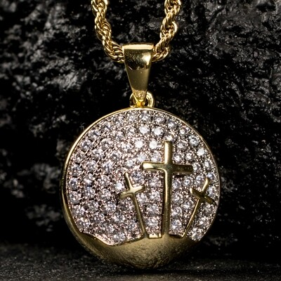 Two Tone Gold Plated Round Three Cross Pendant Necklace
