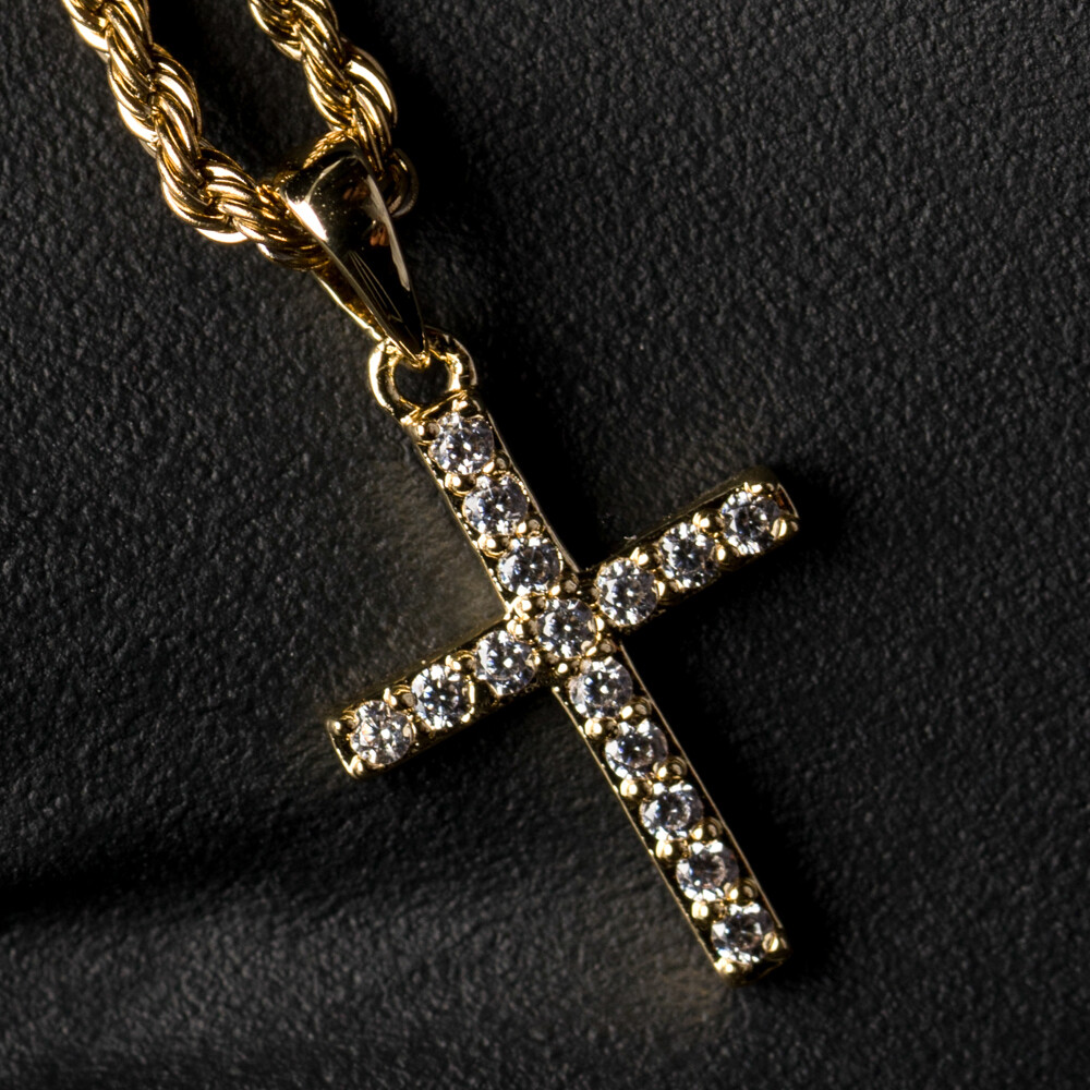 Gold Iced Mini Micro Cross Pendant Necklace