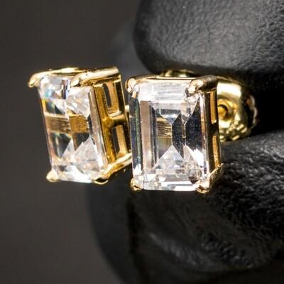 Mens 14K Gold Emerald Cut Stud Screw Back Earrings