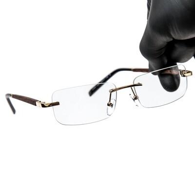 Mens Rimless Gold Woodgrain Clear Tint Glasses