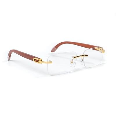 Woodgrain Rimless Rectangular Clear Tint Glasses